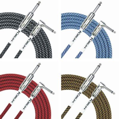 Kirlin Fabric Guitar Lead Straight to Right Angle Plug Choice of Colour 6 metres